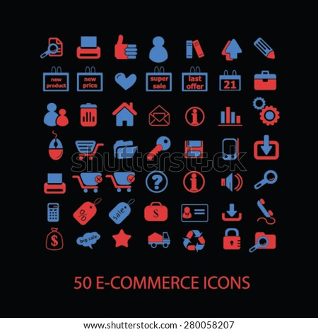 50 ecommerce icons set, vector - stock vector