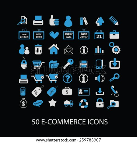 50 ecommerce, retail icons, signs, illustrations concept design set, vector - stock vector