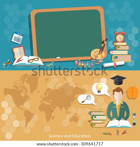 Education back to school blackboard schoolboy students map world international education distance learning craduates college university vector banners - stock vector