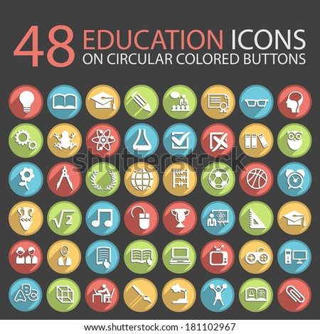 48 Education Icons on Circular Colored Buttons. - stock vector