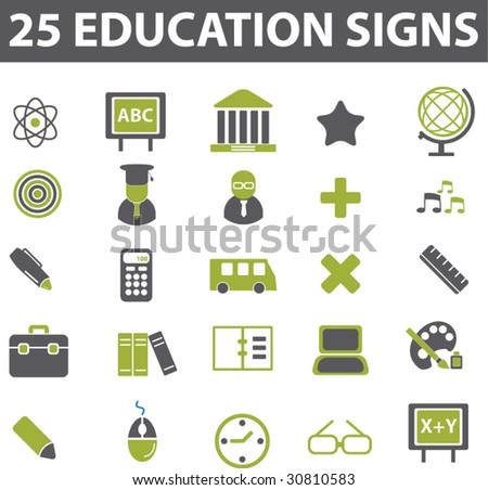 25 education signs. vector. green series. - stock vector