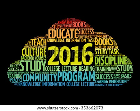 2016 Education word cloud business collage, concept background - stock vector