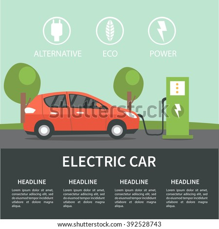 Electric car flat infographic concept. Electric car on charging station. Vector Electric car infographic  with icons. - stock vector