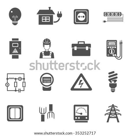 Electricity black white icons set with power and energy symbols flat isolated vector illustration  - stock vector