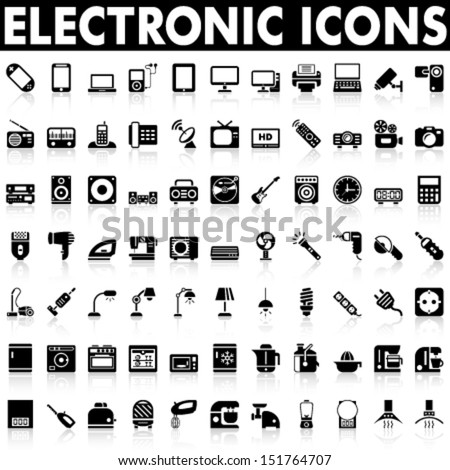 Electronic Devices and Home Appliances Icons - stock vector