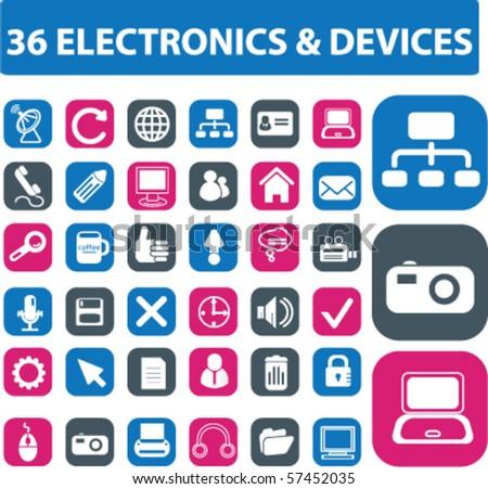 36 electronics buttons. vector - stock vector