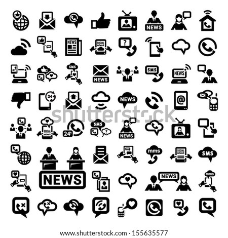 64 Elegant Communication Icons Set for web and mobile. - stock vector