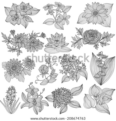 14 elegant decorative flowers, design elements. Floral branches. Floral decorations for vintage wedding invitations, greeting cards, banners. - stock vector