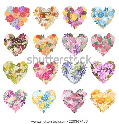 16 elegant floral hearts, design elements. Can be used for wedding, baby shower, mothers day, valentines day, birthday cards, invitations. Vintage decorative floral hearts. - stock vector