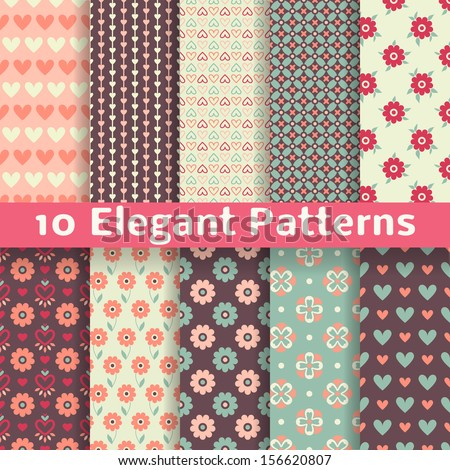 10 Elegant romantic vector seamless patterns (tiling). Retro pink, brown and blue colors. Endless texture can be used for printing onto fabric and paper or scrap booking. Heart, flower. - stock vector