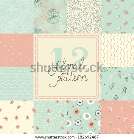 12 Elegant romantic vector seamless patterns (tiling). Seamless floral patterns. Flowers texture. Texture can be used for printing onto fabric and paper or scrap booking. - stock vector