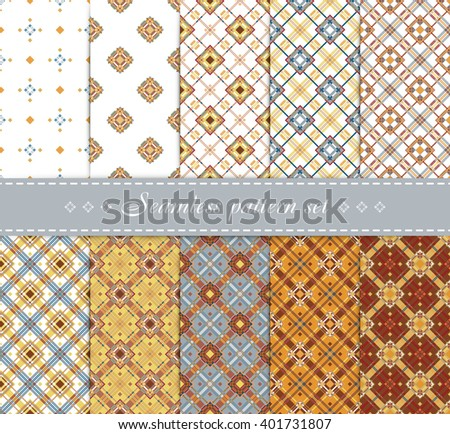 10 Elegant vector seamless patterns. Retro blue, brown, beige and white colors. Endless texture can be used for printing onto fabric and paper, scrap booking etc.  Trendy Hipster Style Backgrounds. - stock vector