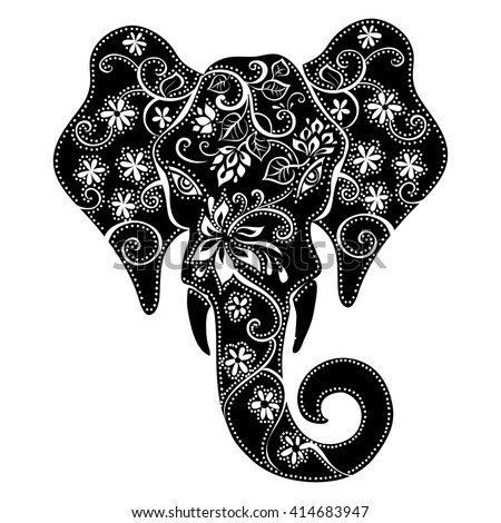 elephant mask . Silhouette of an elephant . Indian elephant. Elephant in floral patterns  - stock vector
