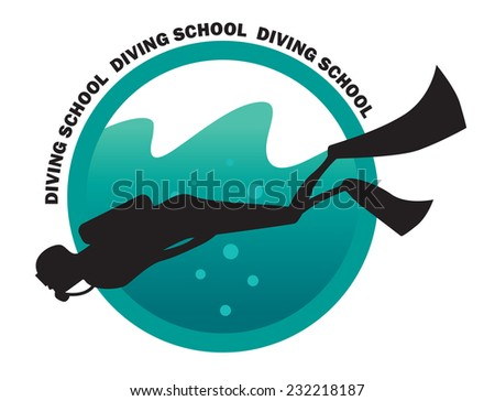 emblem for the school of diving - stock vector