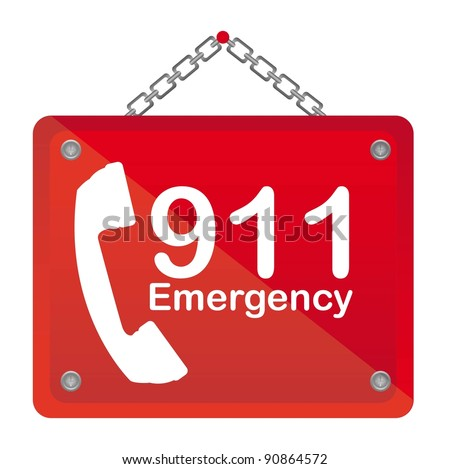 911 emergency red board isolated vector illustration - stock vector