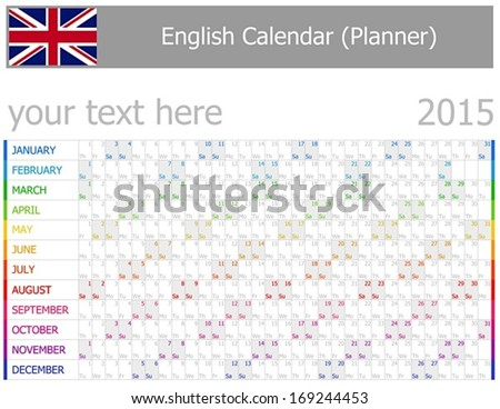 2015 English Planner-2 Calendar with Horizontal Months on white background - stock vector