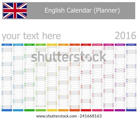 2016 English Planner Calendar with Vertical Months on white background  - stock vector
