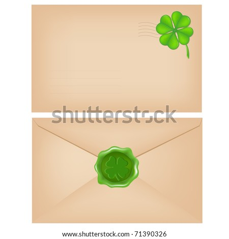 2 Envelopes With Wax Seal And Clover, Isolated On White Background, Vector Illustration - stock vector