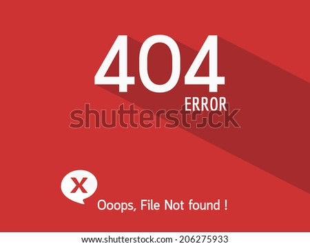 404 Error file not found on website page - stock vector