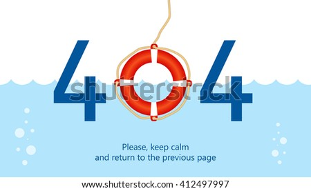 404 error page vector template for website. Sea waves and floating safety ring instead of zero sign. Light and gentle background colors. Text warning message. 404 page not found. - stock vector