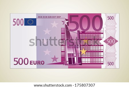 500 euro  - stock vector
