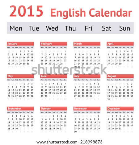 2015 European English Calendar. Week starts on Monday - stock vector