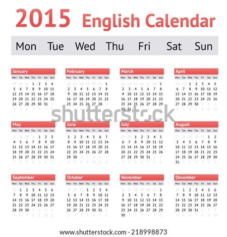 2015 European English Calendar. Week starts on Monday - stock vector