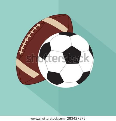 European football and American football ball. flat vector - stock vector