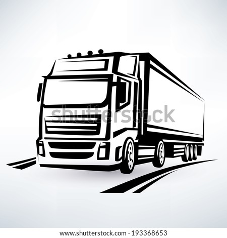 european truck outlined vector symbol - stock vector