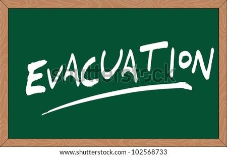 """""""evacuation"""" word written on chalkboard - stock vector"""
