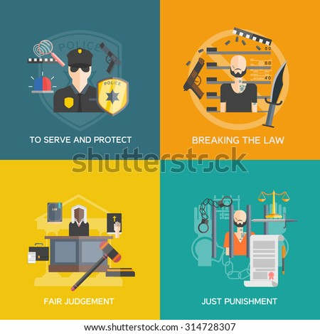 Fair judgement and just punishment icons set with breaking the law and police flat isolated vector illustration  - stock vector