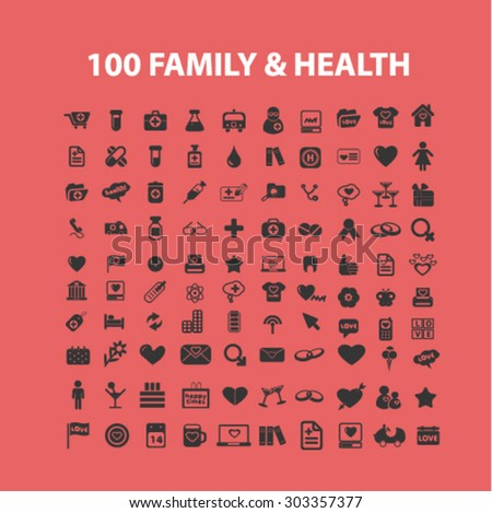100 family health care isolated icons, illustrations, signs vector set - stock vector