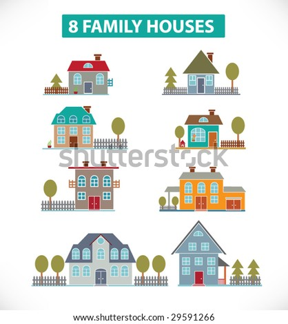 8 family houses.vector - stock vector