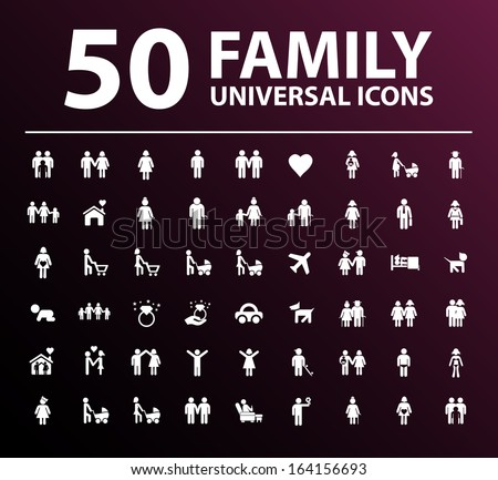 50 Family Icons. - stock vector