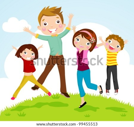 family jumping - stock vector