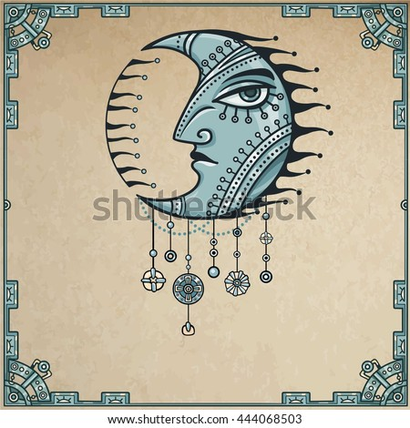 Fantastic image of iron moon. Metal amulet. Esoteric symbol, boho design. Background - a frame from iron elements, imitation of old paper. Vector illustration.  - stock vector