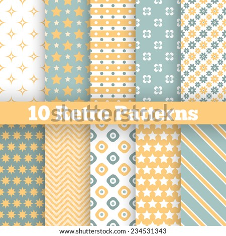 10 Fashion retro different vector seamless patterns. Endless texture can be used for wallpaper, web page background, surface textures. Set of geometric ornaments. Yellow, green and white colors - stock vector