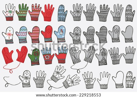 Fashionable knitted  mittens,gloves set on Sketchy style. Autumn ,winter ,spring  wear.Fashion illustrations.Hipster Vector. - stock vector