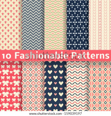 10 Fashionable vector seamless patterns (tiling). Retro pink and blue colors. Endless texture can be used for printing onto fabric and paper, scrap booking. Set of abstract pretty chic background - stock vector