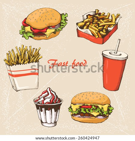 fast food with cola, hamburger,  fries and ice cream - stock vector