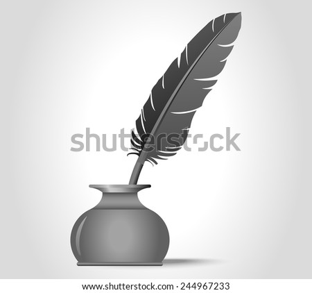 feather quill in the inkwell - vector illustration, you can change the shape and color as you wish - stock vector