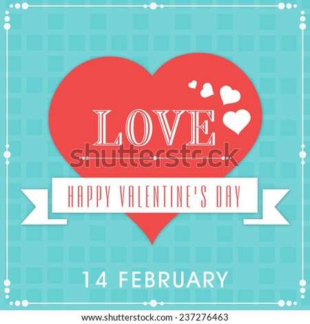 14 February, Happy Valentine's Day celebration with Love text, ribbon and hearts on abstract blue background. - stock vector