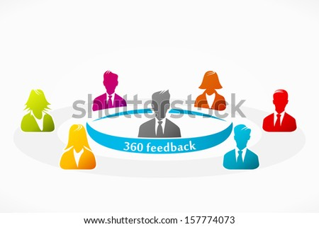 360 feedback business assessment human resource evaluation  - stock vector