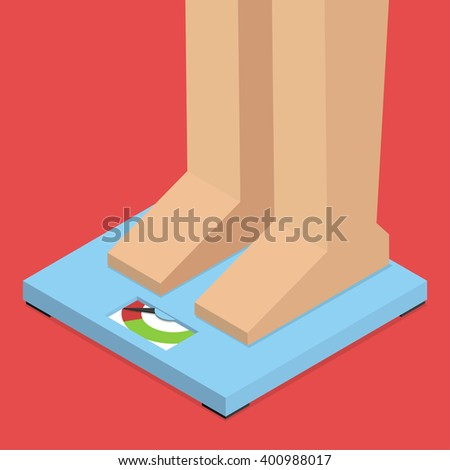Feet on scale. Excess weight. Isometric vector illustration - stock vector