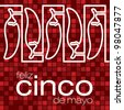 """""""Feliz Cinco de Mayo"""" (Happy 5th of May) chilli card in vector format. - stock vector"""