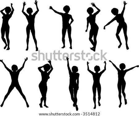 10 Female Dancers - stock vector