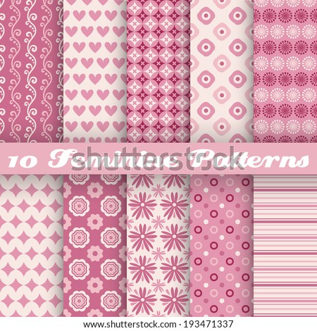 10 Feminine vector seamless patterns (tiling). Fond pink and white colors. Endless texture can be used for printing onto fabric and paper or invitation. Heart, flower, dot, stripe shape. - stock vector