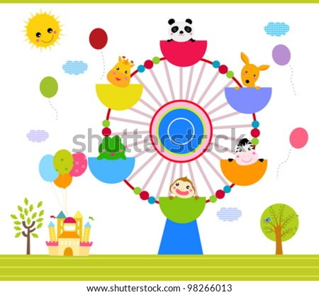 ferris wheel with happy animals - stock vector