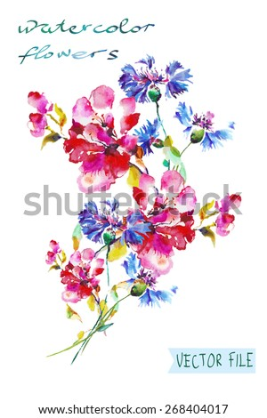 """Festive picturesque bouquet  flowers drawn with watercolor paints c flowers.Album""""New bouquets by a holiday from water color flowers"""".Album """"Vector bouquets by holidays  flowers."""" - stock vector"""