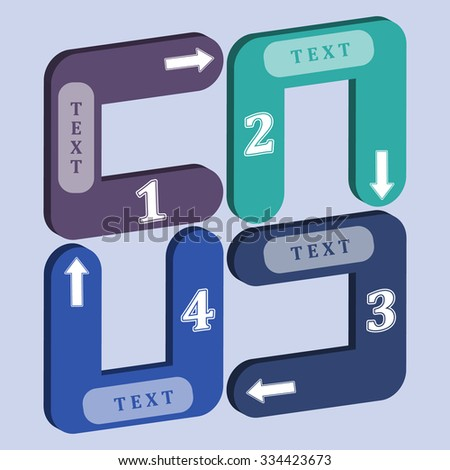 4 figures in circles of different colors indicate the direction with space for text - stock vector